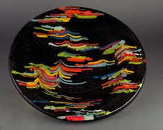 "1000 Oaks Glass Art: Combed Kyotyo (2012) 11"" Diameter 1/2"" Thick 1.25"" Deep"