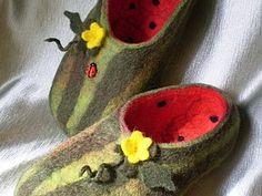 Валяные тапки «Арбузики» | Ярмарка Мастеров - ручная работа, handmade