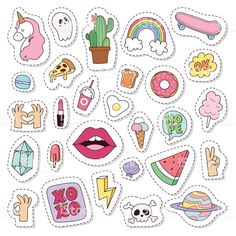 Hipster patches elements like lips, ok sign and diamond hand drawn… Hipster patches elements like lips, ok sign and diamond hand drawn vector. Doodle pop art sketch pins and comic badges vector set. Planner Stickers, Phone Stickers, Journal Stickers, Diy Stickers, Free Printable Stickers, Sticker Ideas, Box Template Printable, Image Stickers, Kawaii Drawings