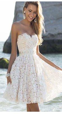 strapless short lace wedding dress with full skirt www.finditforweddings.com cocktail dress beach wedding dress