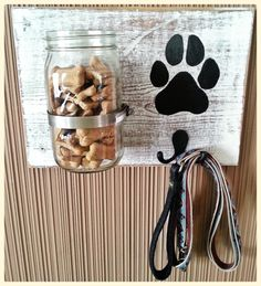 Personalized Dog Leash & Treat Holder, Treat Holder, Mason Jar Treat Holder, Mason Jar Treat Jar, Gifts for Pets (Personalized) *SHIPS FREE Dog treat jar and leash holder could be combined with coat hook Mason Jar Crafts, Mason Jars, Mason Jar Projects, Dogs Tumblr, Dog Leash Holder, Cat Leash, Dog Treat Jar, Dog Treat Container, Ideal Toys