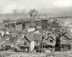 "Smoke on the Water, Duluth, Minnesota, circa 1905-1910. ""Duluth from the Incline Railway."""