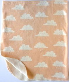 ORGANIC Baby Peach and Grey Clouds Print Jersey Swaddle Blanket Large