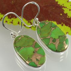 925 Sterling Silver GREEN COPPER TURQUOISE Gemstones Trendy Fashion Earrings NEW #SunriseJewellers #DropDangle