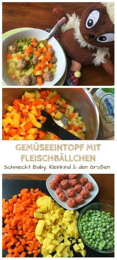 Vegetable stew with meatballs- Gemüseeintopf mit Fleischbällchen Children love stews. This recipe for vegetable stew with minced meatballs is one of our favorite children& recipes, containing colorful vegetables and potatoes: www. Vegetable Soup Healthy, Vegetable Stew, Vegetable Recipes, Meat Recipes, Baby Food Recipes, Vegetable Dishes, Snack Recipes, Kids Meals, Easy Meals