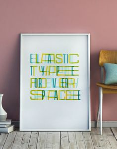 Elastic Type is a poster printed with a wooden type letters and linocut designed from that alphabet. The idea is to create an alphabet that fits all possible spaces by generating new letters. Printed with Officina Typo.