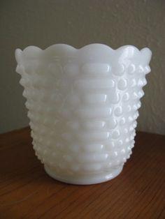 Vintage Fire King Milk Glass Planter or Vase