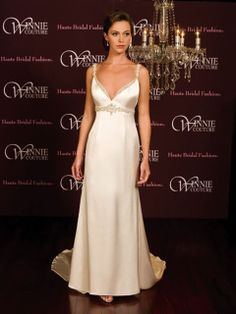 Sheath/Column Straps Elastic Woven Satin Sweep Train Beading Wedding Dresses at Msdressy