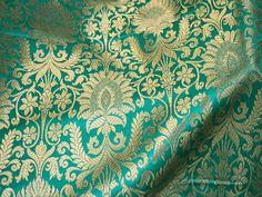 Silk Brocade Fabric Sea Green Gold Weaving, Benares Brocade Fabric, Indian Silk, Wedding Dress Fabric, Banarasi fabric by the Yard