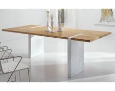 "Table repas chêne massif pied quinquonce ""Bibido2"""