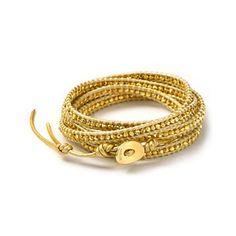 Chan Luu Leather and Goldtone Bead Wrap Bracelet, 32.. DIY idea