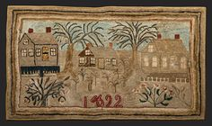"1892 HOOKED RUG  American, 1892. Landscape with three houses in excellent color and condition. Cotton on burlap. 68 1/2"" x 40."""