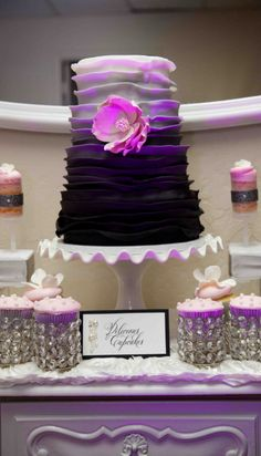 Pretty Purple Ombre Frill Cake {personally, I hate the flower on the cake, but I thought you might like the purple ombre layers}