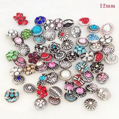 Snap Charms Jewelry Vocheng 18mm Rhinestone Bead Blossom 2 Colors Vn-1120