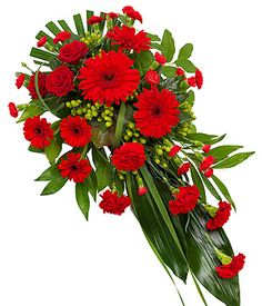 Red Single Ended Spray - - - Funeral Floral Arrangements, Rose Flower Arrangements, Church Flowers, Funeral Flowers, Gerbera, Sunflower Wedding Centerpieces, Casket Flowers, Funeral Sprays, Cemetery Decorations