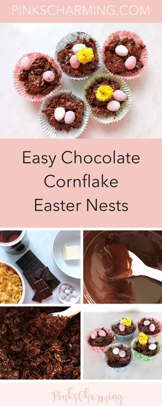 pinkscharmingchocolate pinkscharming indulgent chocolate cornflake easter nests easy Easy Indulgent Chocolate Cornflake Easter Nests PinksCharmingchocolateYou can find Nests and more on our website Chocolate Cornflake Nests, Cornflakes Chocolate, Chocolate Easter Nests, Kid Desserts, Dessert Recipes, Baking Recipes, Easter Recipes, Easter Baking Ideas, Easter Food