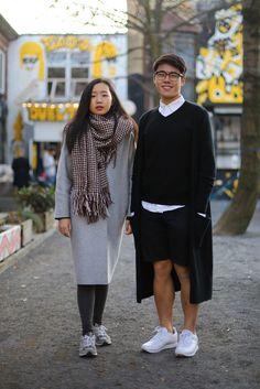 On the streets of Berlin. [Photo by Kirsten Kortebein] Sporty Chic, Smoking, Asian Street Style, Stylish Couple, German Fashion, Skateboard Girl, Fashion Couple, Matches Fashion, Fashion News