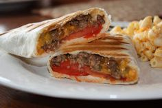 Grilled Cheeseburger Wraps from Skinny Girl recipes - tasty and quick . Food For Thought, Think Food, I Love Food, Good Food, Yummy Food, Tasty, Beef Recipes, Cooking Recipes, Healthy Recipes