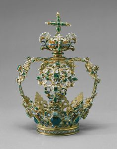 Spanish, or Spanish Colonial        Crown, early 17th century              Gold, enamels, emeralds, diamonds, pearls, and aquamarine