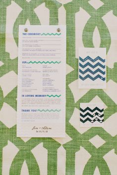 Chevron programs and paper goods! Photography by Milou Olin Photography / milouandolin.com/, Event Planning by Dream A Little Dream Events / dreamalittledreamevents.com, Floral Design by Natalie Bowen Designs / nataliebowendesigns.com