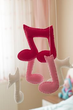 Baby Girl Mobile - Felt Music Notes Mobile -Pink Baby Mobile -Music Notes Crib Mobile -Baby Girl Room Decoration -Felt Baby Girl Mobile - pinned by pin4etsy.com