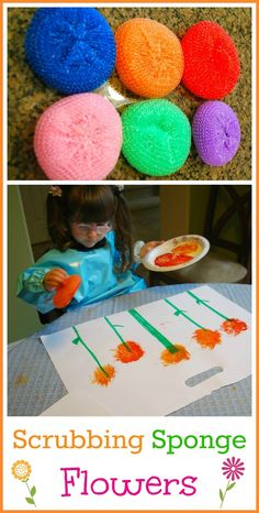 Could use sponge to paint wheels or all aorts of things.  Pinner wrote: Simple Spring Art for kids - Making Flowers with Scrubbing Sponges