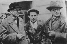 Le Corbusier with Sergei Eisenstein and Andrei Burov in Moscow (1928).