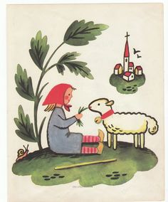 Nursery wall art Girl and lamb 1950s by AnemoneReadsPaperie