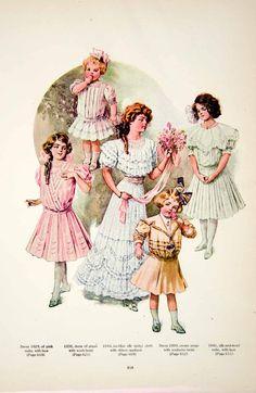 1907 Color Print Edwardian Girl Lady Children Baby Fashion Costume Clothing YDL4