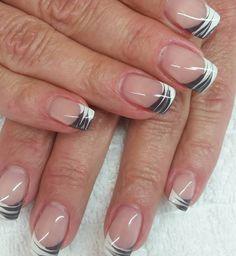 French Tip Nail Art, French Tip Nail Designs, Diy Nail Designs, Acrylic Nail Designs, Nail Manicure, Diy Nails, Nagel Stamping, White Nails, Nail Red