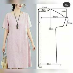 Sewing Shirts, Sewing Clothes, Diy Clothes, Simple Dress Pattern, Shift Dress Pattern, Dress Sewing Patterns, Clothing Patterns, Stylish Dresses, Simple Dresses