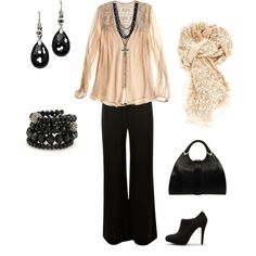 "I love black and nude. Love the silky top. This would be great for all of my ""grown up"" meetings. haha"