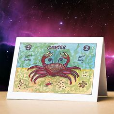Cancer birthday card cancer star sign zodiac astrology birthday card cancer stationery gift sun sign zodiac card for birthdays Cancer Sun Sign, Pisces Star Sign, Pisces Birthday, Birthday Reminder, Watercolor Projects, Birthday Cards, Astrology, Music, Birthdays