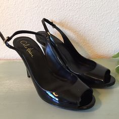 """Cole Haan Black Patent Leather Sling Back Heels Beautiful Cole Haan Black Patent Leather Sling Back Heels with Peep Toes and Nike Air Technology. The heels are 4"""". Like New. Cole Haan Shoes Heels"""