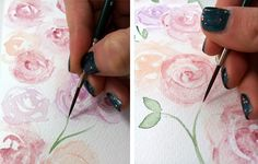 watercolor roses DIY gift wrapping print