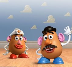 Toy Story - Mr. Potato Head (voiced by Don Rickles) is an outspoken and sarcastic potato-shaped toy. His patented design allows him to separate his detachable parts from his body by removing them from the holes on his body. He also has a compartment on his lower back to store extra appendages. Mrs. Potato Head (voiced by Estelle Harris), Mr. Potato Head's wife and female counterpart, is sweet and not hot-headed or impatient.