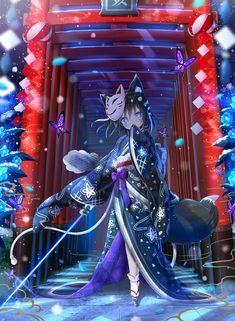 Anime Warrior Girl, Anime Wolf Girl, Manga Anime Girl, Anime Neko, Anime Art, Kawaii Anime Girl, Anime Girl Cute, Manga Katana, Anime Girl Kimono
