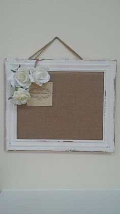 Message Board, Cork Board, Burlap Bulletin Board, Framed Cork Bulletin Board, Pin Board in White Frame with Monogram and Roses by ThreeLoveMonkeys on Etsy