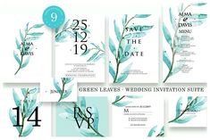 Green Leaves - Wedding Suite designed by Invitations. the global community for designers and creative professionals. Invitation Card Design, Wedding Invitation Suite, Invitation Cards, Wedding Templates, Good Jokes, Wedding Suits, Green Leaves, Graphic Design, Design Art