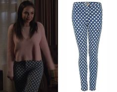 """Mona wears these high waisted skinny jeans in a polka dot print in Pretty Little Liars episode """"Free Fall"""". Topshop Moto Vintage Spot Joni J..."""