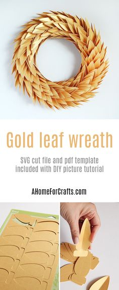 Gold leaf wreath DIY - with free downloadable template and cut file