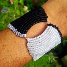 Wide macrame cuff, custom order color, design, width, length.