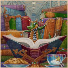 Randal Spangler, just saw this artist at Art Fair on the Square today! Dragon Cat, Baby Dragon, Art Nouveau, Randal, Reading Art, Cute Dragons, Magical Creatures, Whimsical Art, Bunt