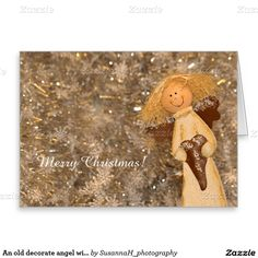 An old decorate angel wishes Merry Christmas Greeting Card Merry Christmas Card, Christmas Angels, Photo Cards, Greeting Cards, Teddy Bear, Seasons, Holiday, Shop, Decor