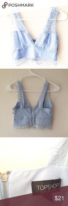 TopShop Eyelash Lace Cropped Bralette Size 2. Powder baby blue eyelash lace, v-neck style cropped bralette. In great condition. Fast shipping and smoke free home. Topshop Tops Crop Tops