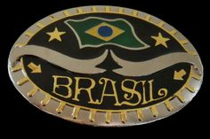 Brazil Brasil Brazilian Brasilien Rio Flag Belt Buckle