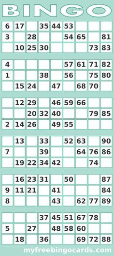Printable 1-90 UK Bingo Card Generator