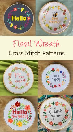 These are beautiful cross stitch floral wreath patterns! All of these patterns contain a flower wreath border and cross stitch quote in the middle of the pattern. You can get all of these cross stitch Cross Stitch Quotes, Cute Cross Stitch, Cross Stitch Flowers, Floral Embroidery Patterns, Machine Embroidery Patterns, Embroidery Stitches, Floral Patterns, Modern Cross Stitch Patterns, Cross Stitch Designs