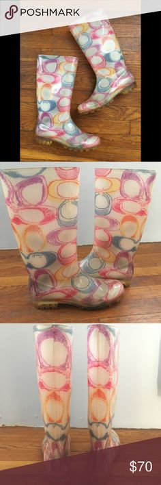 HOST PIC Coach Multicolor Pixy Rain Boots RARE COLOR! Preloved condition, soles are slightly dirty but can be cleaned. Will definitely cheer you up on any dark, gloomy day! Coach Shoes Winter & Rain Boots