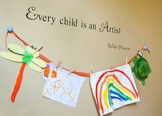 Cute idea to show off your kids art work:)